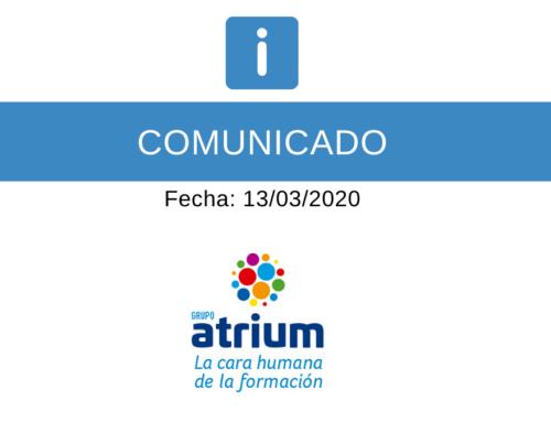 Comunicado Institucional de Grupo Atrium – con motivo del coronavirus